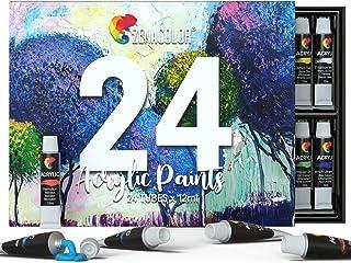 comprar comparacion Zenacolor - Set de 24 Tubos de Pinturas Acrilicas - 24 x 12ml