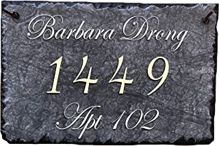 """Sassy Squirrel Beautifully Handcrafted and Customizable Slate Home Address Plaque (16""""x10"""" or 12""""x8"""") Personalized House Sign with and mounting Hardware. Improve The Curb Appeal of Your Property"""