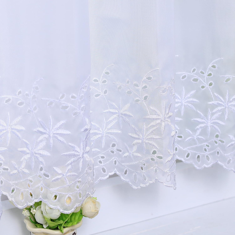 Joyswahl Rideau brise-bise en voile avec barre perfor/ée Jasmin Blanc 60 x 140 cm