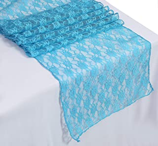 mds Pack of 10 Wedding 12 x 108 inch Lace Table Runner for Wedding Banquet Decor Table Lace Runner- Turquoise