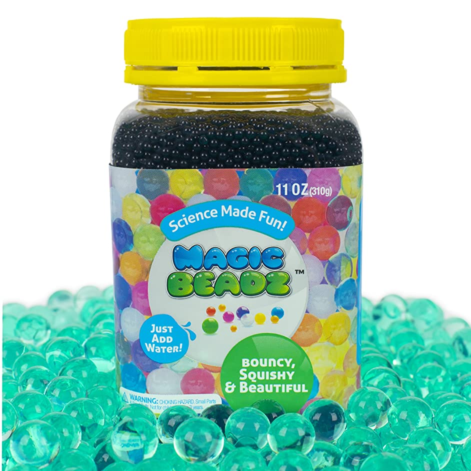 Magic Beadz - Turquoise Green Gel Water Beads - Transparent Jelly Pearls - Vase Filler - Wedding Centerpiece - Candles - Flower Arrangements - Over 30,000 Beads - 11oz Jar Makes Over Ten Gallons