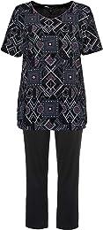 Femme Grandes Tailles Pyjama, Manches Courtes, imp