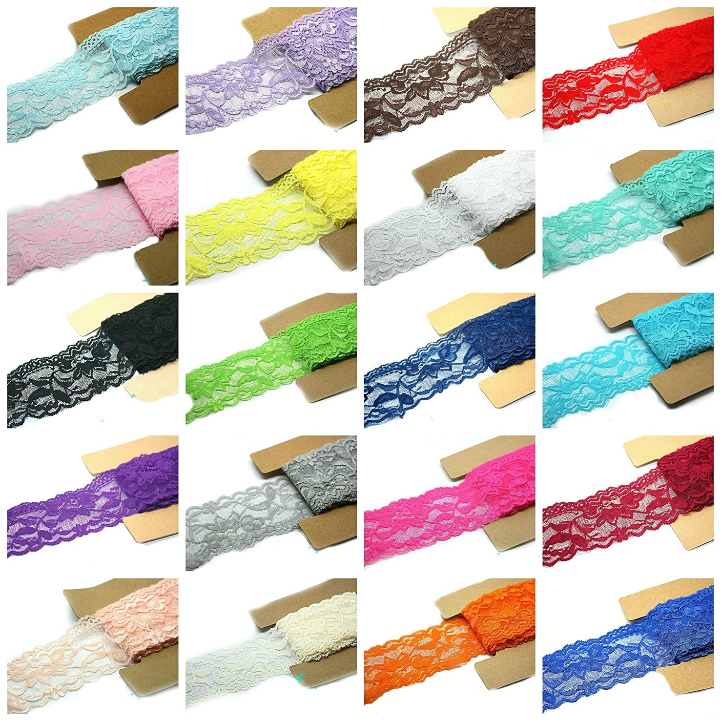Lace Fabric Stretch Elastic JLIKA Brand 2.25 inches Wide Trim Lace for Headbands Garters Variety Pack Mix Colors Grab Bag As pictured 20 Colors 1 Yard Each