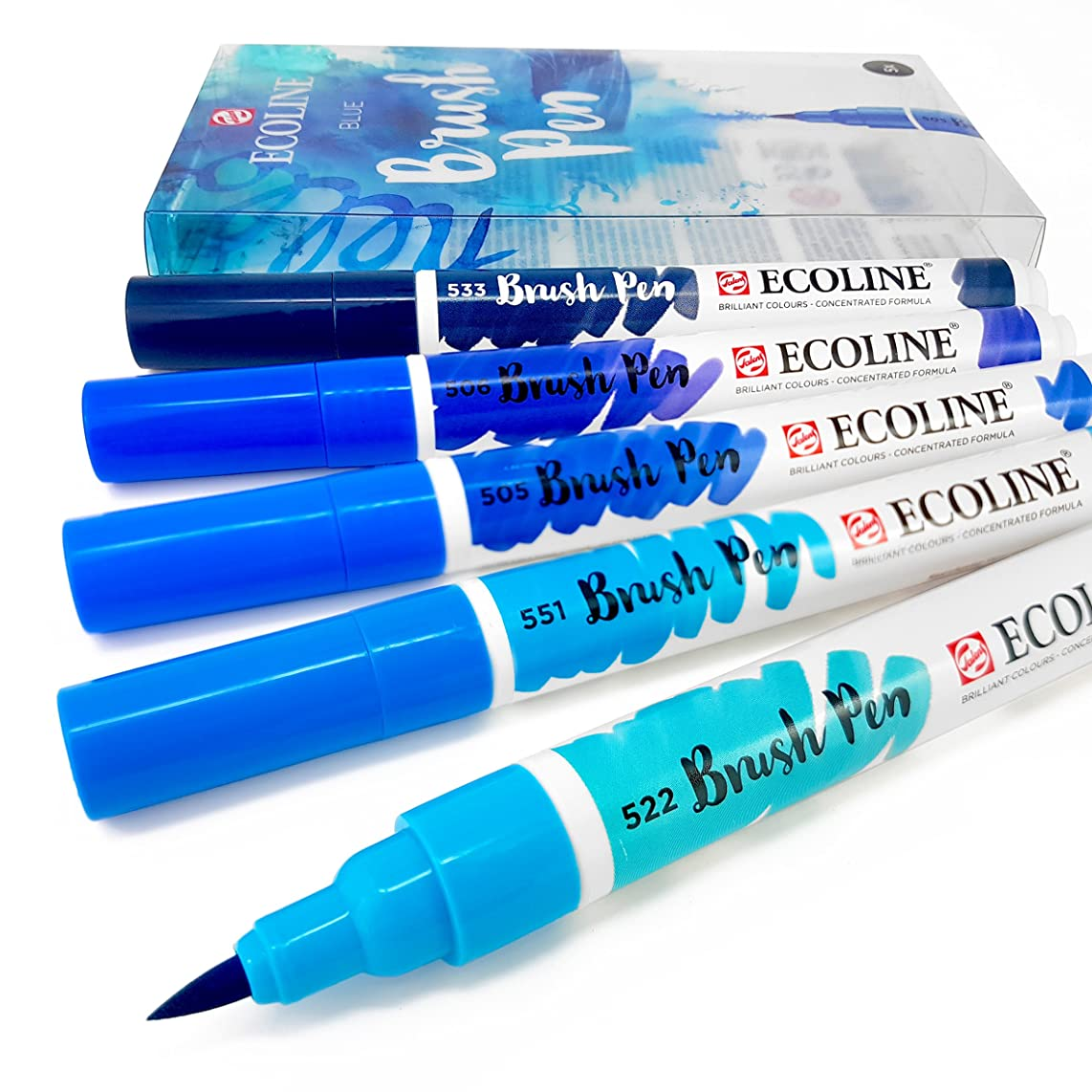 Royal Talens - Ecoline Liquid Watercolour Drawing Painting Brush Pens - Set of 5 in Plastic Wallet - Blue