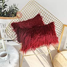 Kevin Textile Christmas Decor Home Deluxe Soft Plush Merino Style Faux Fur Oblong Throw Pillow Cover Handmade Pillowcase w...
