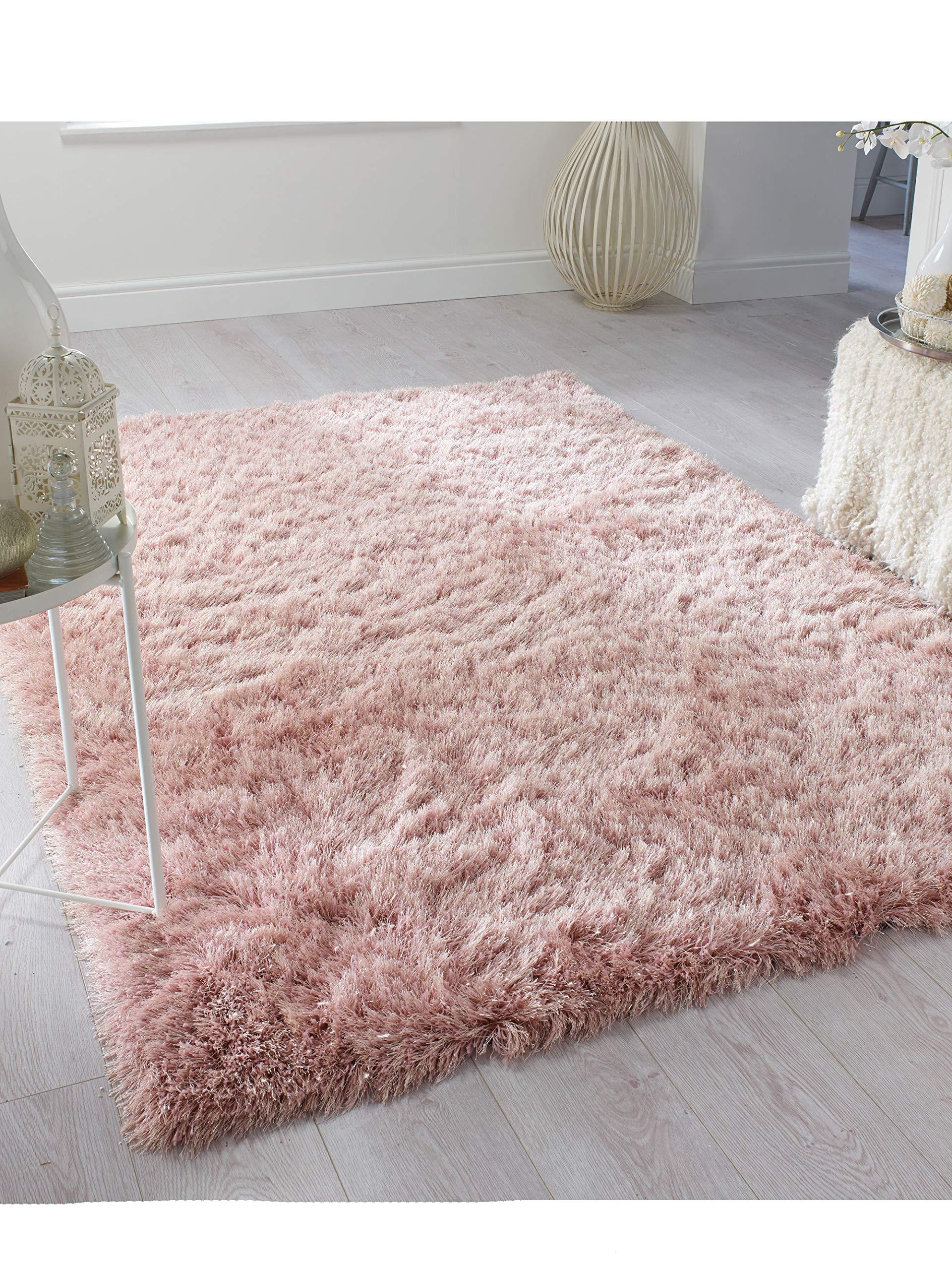 Alfombra de Pelo Largo, contemporánea, Gruesa, Gruesa, de Pelo Largo, Lisa, de Peluche, 80 x 150 cm, Color Rosa: Amazon.es: Hogar