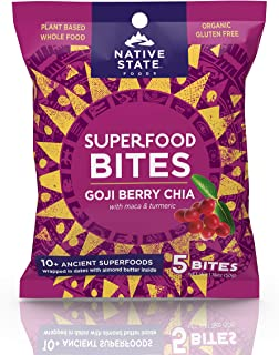 Native State Organic Superfood Bites, Goji Berry Chia — Ancient Superfoods, Healthy Snack, Plant Based, Gluten-Free, Non-GMO, No Sugar Added,1.76oz Single Packs (Box of 8)