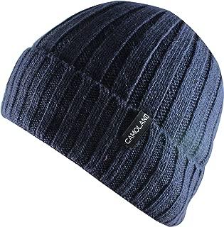 Men's Fleece Wool Cable Knit Winter Beanie Hat