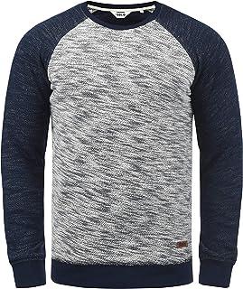 Solid Flocker men's sweatshirt pullover with crew neck made of 100% cotton