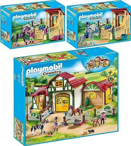 PLAYMOBIL ountry 3er Set 6926 6934 6935 Größer Reiterhof + Pferdebox  Araber  + Pferdebox  Appaloosa