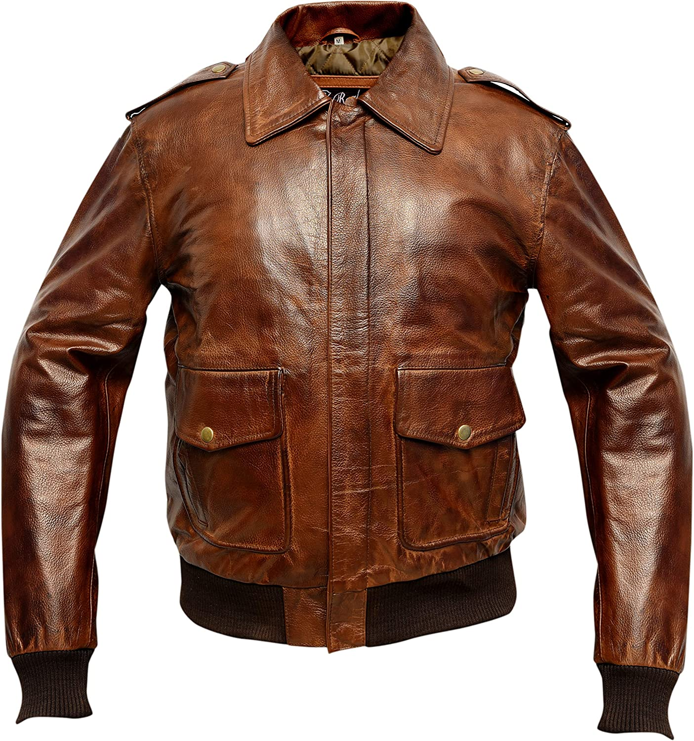A2 Waxed Distressed Brown Real Cowhide Leather Bomber Flight Jacket
