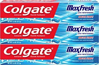 Colgate Max Fresh Toothpaste with Mini Breath Strips, Cool Mint - 7.6 Ounce (3 Pack)