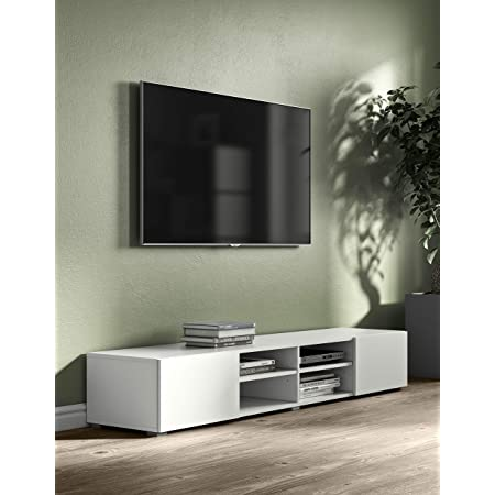 Podium TV Blanc 185 2 portes, Blanc, 185x42x31 cm