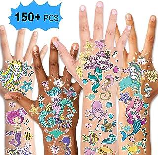 Mermaid Party Supplies Temporary Tattoos for Kids(150pcs+),Konsait Fake Mermaid Tattoos for Children Girls Birthday Party ...