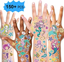 Mermaid Party Supplies Temporary Tattoos for Kids(150pcs+),Konsait Fake Mermaid Tattoos for Children Girls Birthday Party Favors Supplies Great Kids Party Accessories Goodie Bag Stuffers Party Fillers