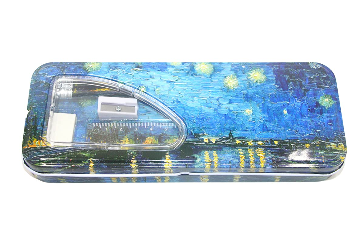 DaHo Tin Pencil Case with Pencils, Ruler, Eraser and Sharpener inside (Starry Night Over the Rhone)