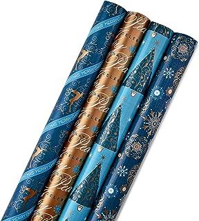 Hallmark Reversible Christmas Wrapping Paper Bundle, Elegant Blues (Pack of 4, 150 sq. ft. ttl.)