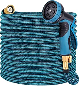 Toolasin Expandable Garden Hose 75ft with 10 Function Spray Nozzle, Leakproof Flexible Water Hose Design with Solid Brass Connectors, Retractable Hose Expands 3 Times, Easy Storage and Usage