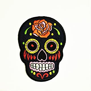 Patch Portal Aztec Sugar Skull Candy Blue Navy 3.5 Inches Biker Motorcycle Day of The Dead Mexican Orange Flowers Embroide...
