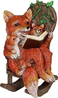 Exhart Solar Fox Family Reading a Book on a Rocking Chair Garden Statue – Bookworm Foxes Mini Figurine w/Solar LED Lights, Booklovers Fox Statue, Resin Fox Decorations, 8.3 x 8.3 W x 12.2