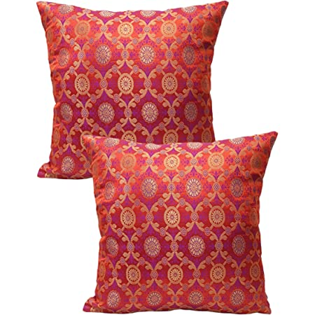 Buy House Of Silko Royal Banarasi Brocade Green Cushion Cover 16x16 Set of  2 Online at Low Prices in India - Amazon.in