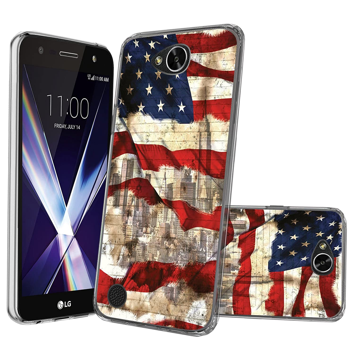Flex Force by MINITURTLE Compatible with LG Fiesta, LG Fiesta 2, LG X Power 2, LG X Charge(M320F) Ultra-Clear Transparent Silicone Case - New York USA Flag