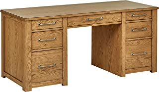 Stone & Beam Rustic Parson Office Computer Desk with 7 Drawers, 64