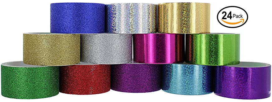 RamPro Glitter & Holographic Styles Heavy-Duty Duct Tape   Assorted Colors Pack of 24 Rolls.