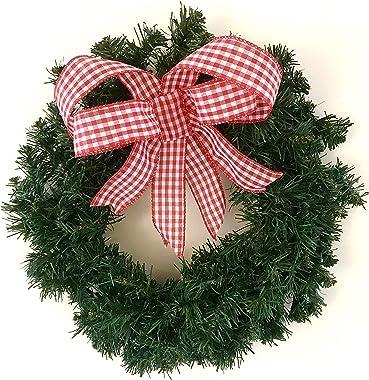 Farmhouse Christmas Decorations Wreath in Rustic Buffalo Plaid Ribbon, 18 inch