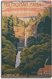 Lantern Press Multnomah Falls, Oregon - Sunset (10x15 Wood Wall Sign, Wall Decor Ready to Hang)