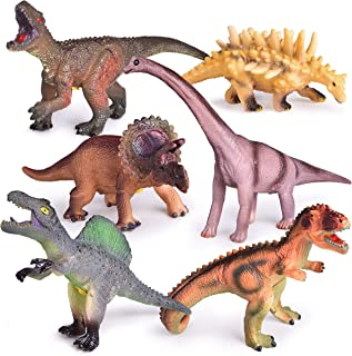 6 PCs Dinosaur Toys with Roar Sounds, 9 to 12 Inches Large Soft Rubber Toy Dinosaurs for Kids