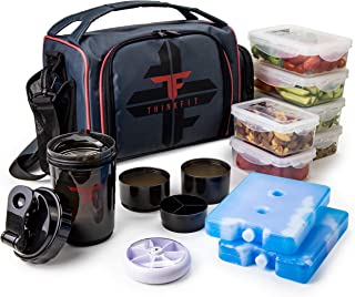 ThinkFit Insulated Meal Prep Lunch Box with 6 Food Portion Control Containers –..