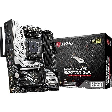 MSI MAG B550M Mortar WiFi Gaming Motherboard (AMD AM4, DDR4, PCIe 4.0, SATA 6Gb/s, M.2, USB 3.2 Gen 2, AX Wi-Fi 6, HDMI/DP, Micro-ATX, AMD Ryzen 5000 Series Processors)
