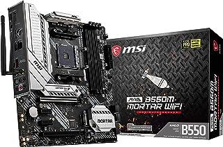 MSI MAG B550M Mortar WiFi Gaming Motherboard (AMD AM4, DDR4, PCIe 4.0, SATA 6Gb/s, M.2, USB 3.2 Gen 2, AX Wi-Fi 6, HDMI/D...