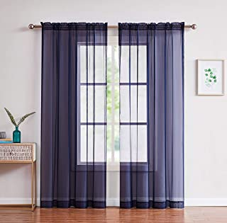2-Piece Rod Pocket Sheer Panel Curtains Fabric Sheer - Voile Curtains for Window Treatment - Natural Light Flow (56