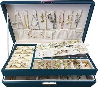 منظم صندوق المجوهرات العصري العصري ، صندوق مجوهرات محمول منظم 2 طبقة مشبك إغلاق ، حامل مجوهرات للقلادة القرط سوار الساعة و...