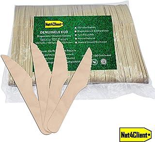 Net4Client 100 x Cuchillos Desechables de Madera Cuchillos de un Solo Uso Vajilla Ecológica Vajilla Desechable Cubiertos Biodegradables Natural Ecológico y Compostable