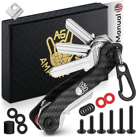 AmazinGizmo Llavero Smart Key Holder & Key Organizer - Llavero EDC negro compacto para casa y coche con clip de bolsillo y mosquetón - hasta 12 llaves plegables y más