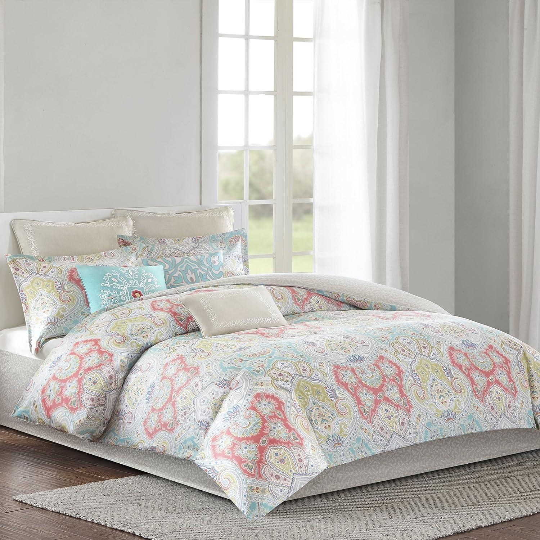 Echo Design Cyprus Comforter Set Twin Size - Aqua, bluesh, Demask – 3 Piece Bed Sets – 100% Cotton Sateen Teen Bedding for Girls Bedroom