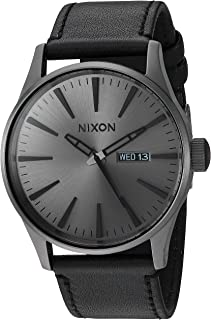 Men's A105 Sentry 42mm Stainless Steel Leather Quartz Movement Watch