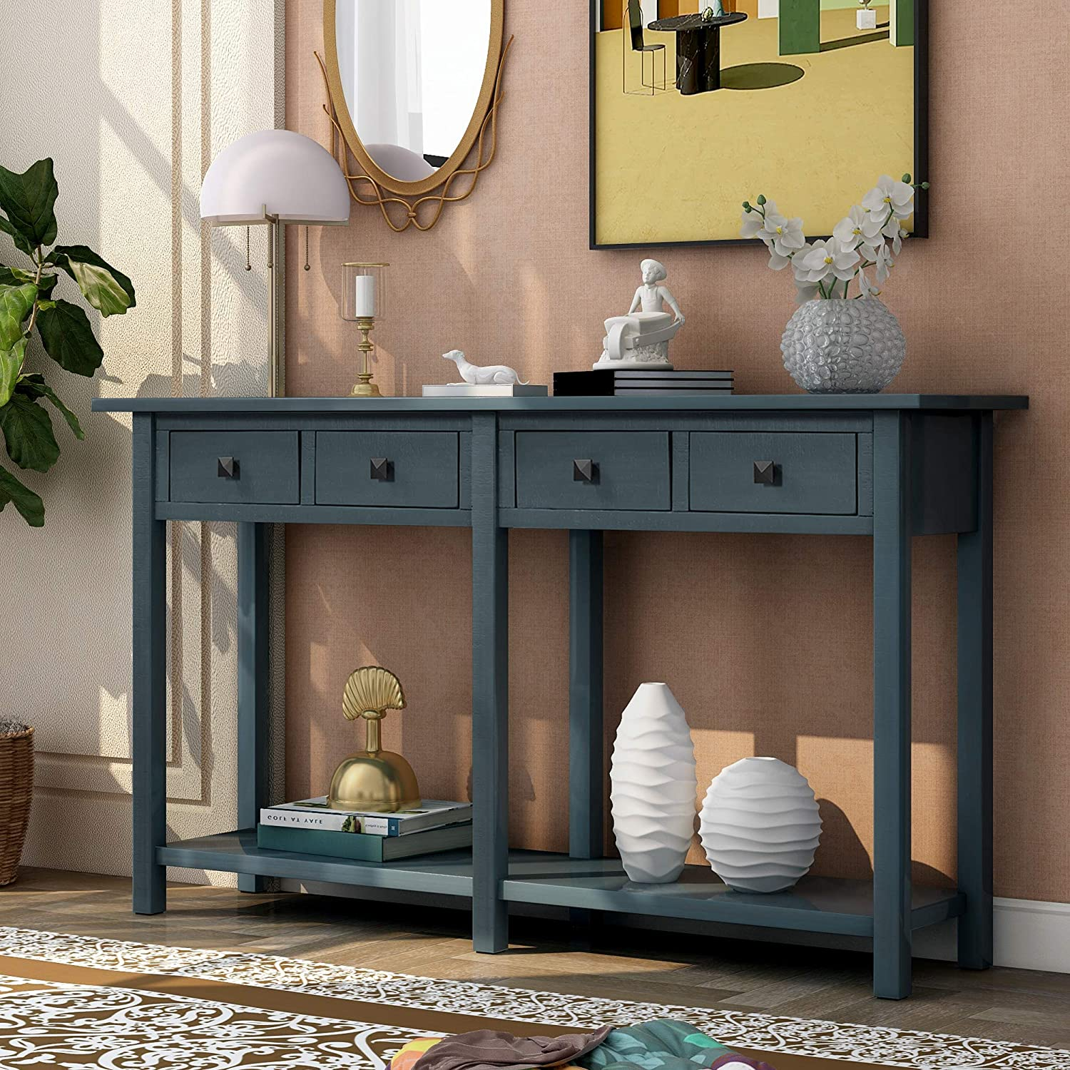 Merax Narrow Console Sofa Table Sideboard Max 64% OFF Inexpensive with and Drawers Long