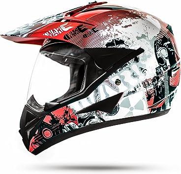 Stark Ato 804 Gs War Rot Crosshelm Mit Visier Für Quad Atv Enduro Motorradhelm Ece 2205 Größe Auto