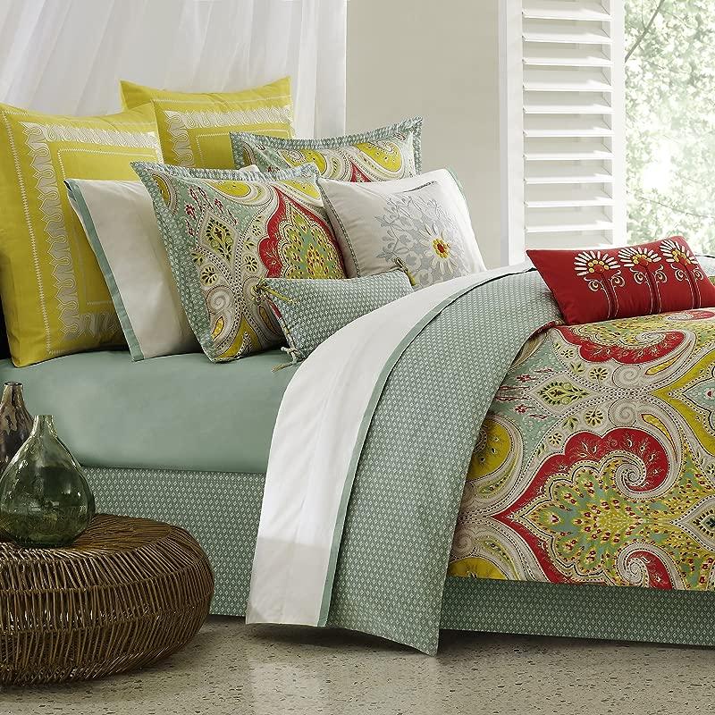 Echo Design Jaipur Comforter Set Queen Size Aqua Yellow Red Bohemian Paisley Damask 4 Piece Bed Sets 100 Cotton Teen Bedding For Girls Bedroom