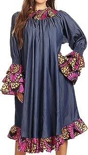 Sakkas Folami Chambray and Ankara Wax Dutch Print Muumuu Dress Relax Fit