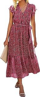 BTFBM Women Summer Bohemian Floral Casual Wrap V Neck Ruffle Cap Sleeveless Belt A-Line Pleated Hem Swing Midi Sun Dress