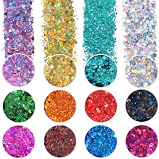 12 Color Chunky Nail Glitter Body Glitter Makeup Glitter for Face Body Eye Hair Crafts Cosmetic Sequins