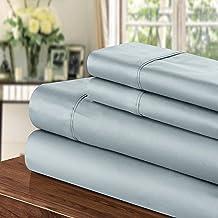 مجموعة ملاءات 1000 خيط من شيك هوم، كوين، أزرق