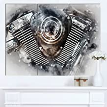 Motorcycle Engine Watercolor Contemporary on Canvas Art Wall Photgraphy Artwork Print