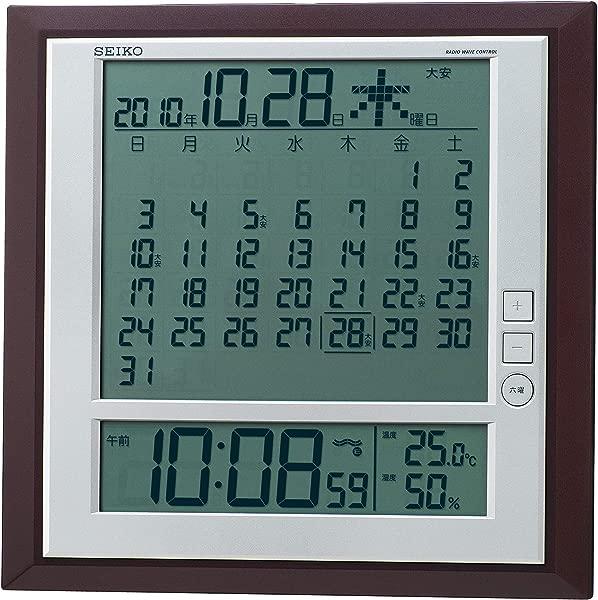 精工时钟六日显示数字收音机时钟 SQ421B 精工时钟挂钟台钟组合月历功能由未知日本进口