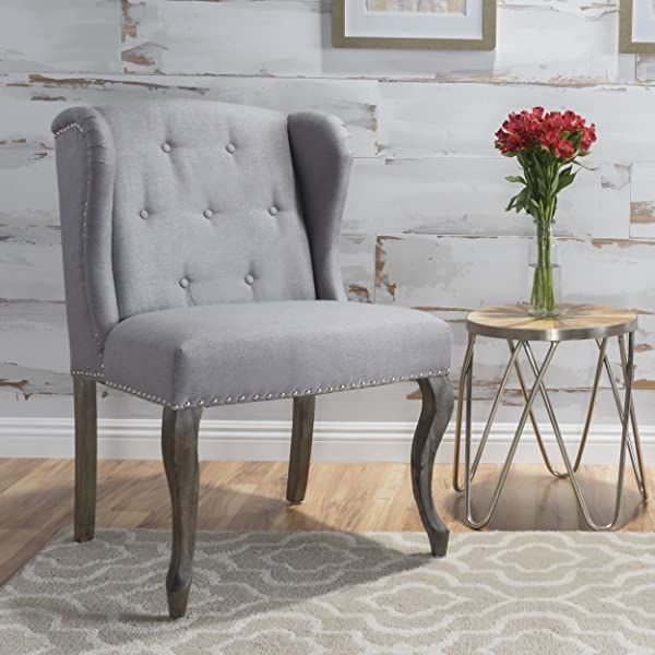 Christopher Knight Home 299858 Asheville Button Tufted Fabric Chair Light Grey